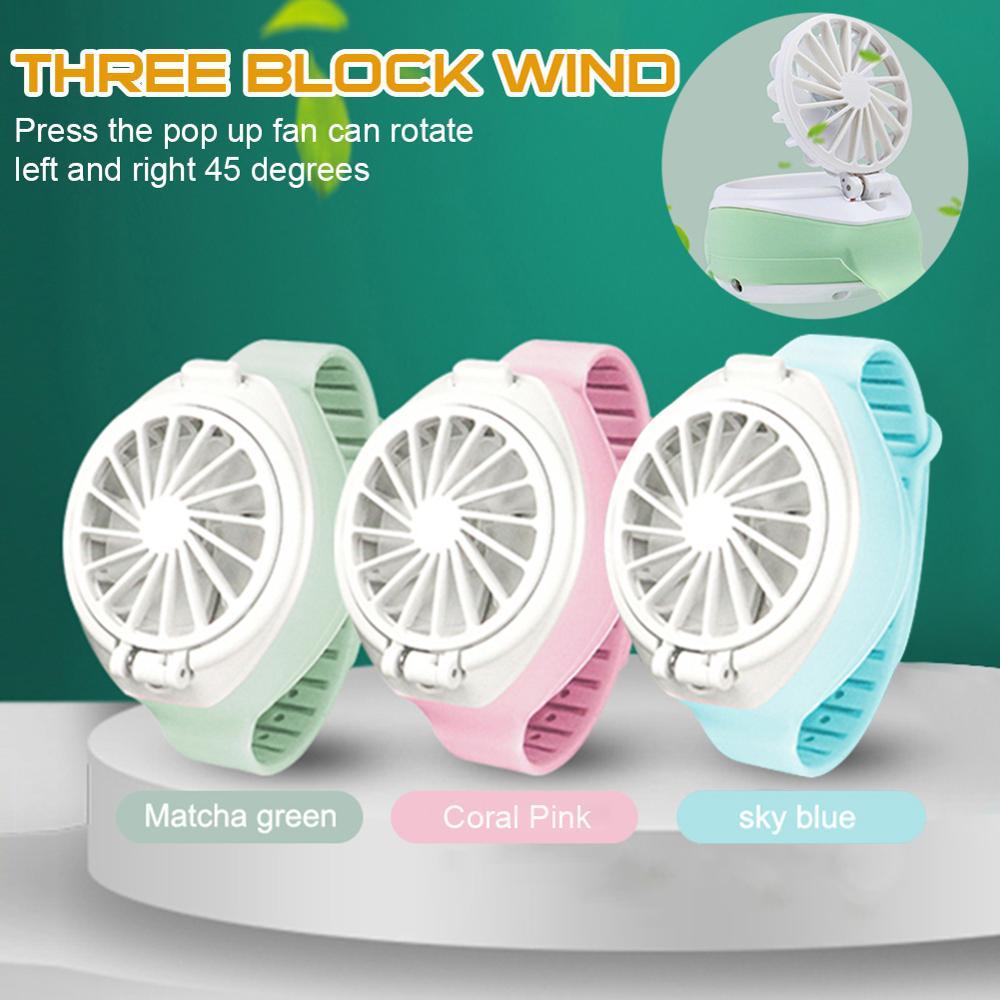 Mini Portable Fan Wristwatch Rechargeable Watch Fan 3-Speed Settings Adjustable Angle Small Fans Originality Small Household