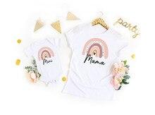 Arco-íris mamãe e mini camisas arco-íris roupa do bebê arco-íris presente do bebê mamãe camisa mãe e me camisa neutra bonito impressão família conjunto