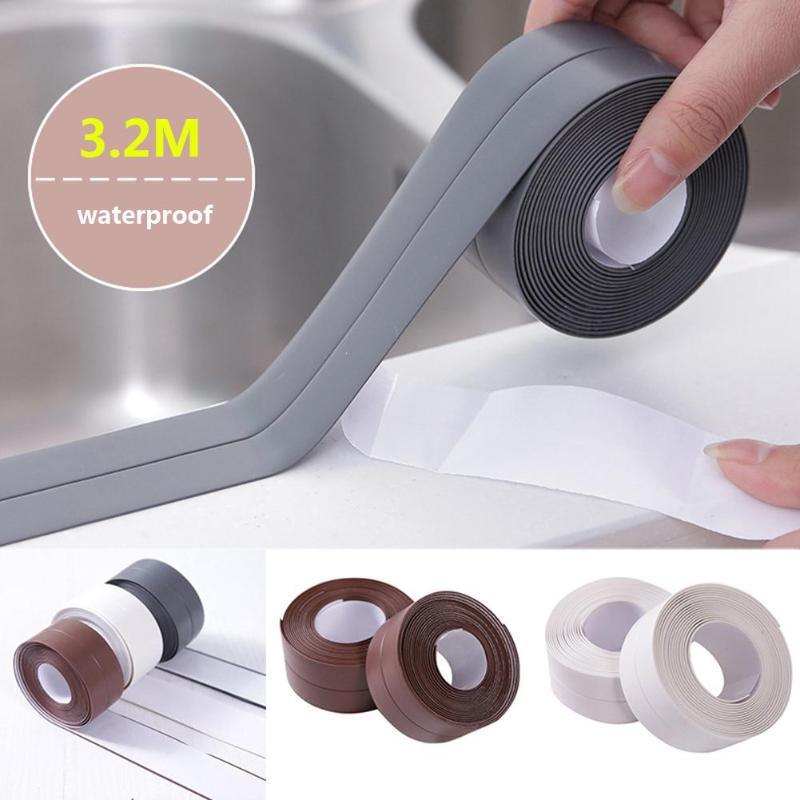 Waterproof Self Adhesive Kitchen Ceramic Sticker Waterproof Anti-moisture PVC Sticker Bathroom Wall Corner Line Sink Stickers