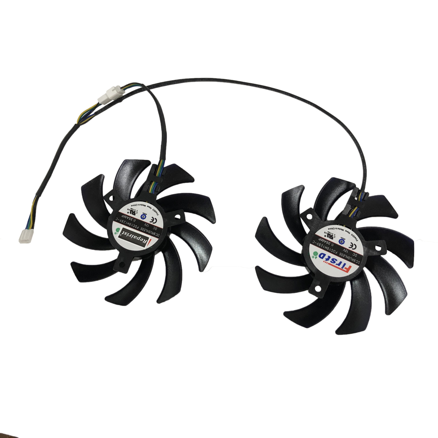 Repairist 2Pcs/set GTX1080/1070 GPU VGA Card Cooler Fan for Palit GeForce GTX 1080 GTX1070 Dual OC graphics card as replacement image