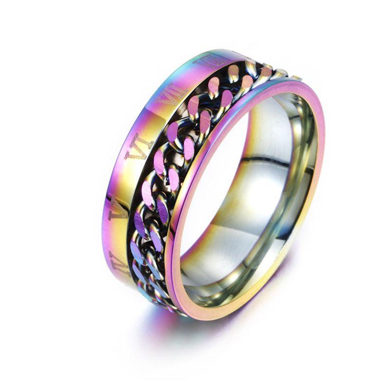 EDC Finger Fidget Spinner Stainless Steel Chain Rotatable Ring Men Classical Rome Digital Power Sense Gift  72XC