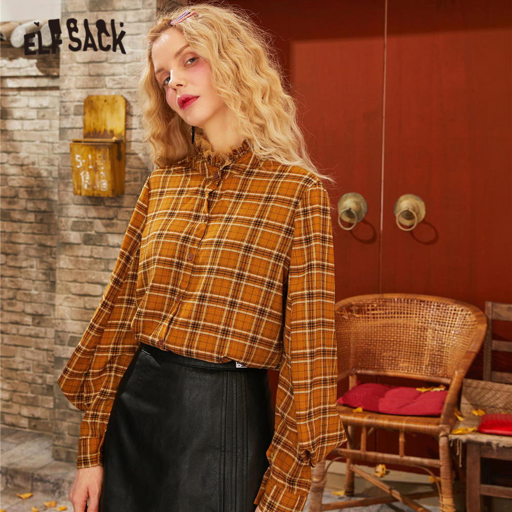 ELFSACK Caramel Plaid Mesh Contrast Frill Brit Graphics Shirts Women 2020 Spring Vintage Lantern Sleeve Casual Ladies Daily Tops
