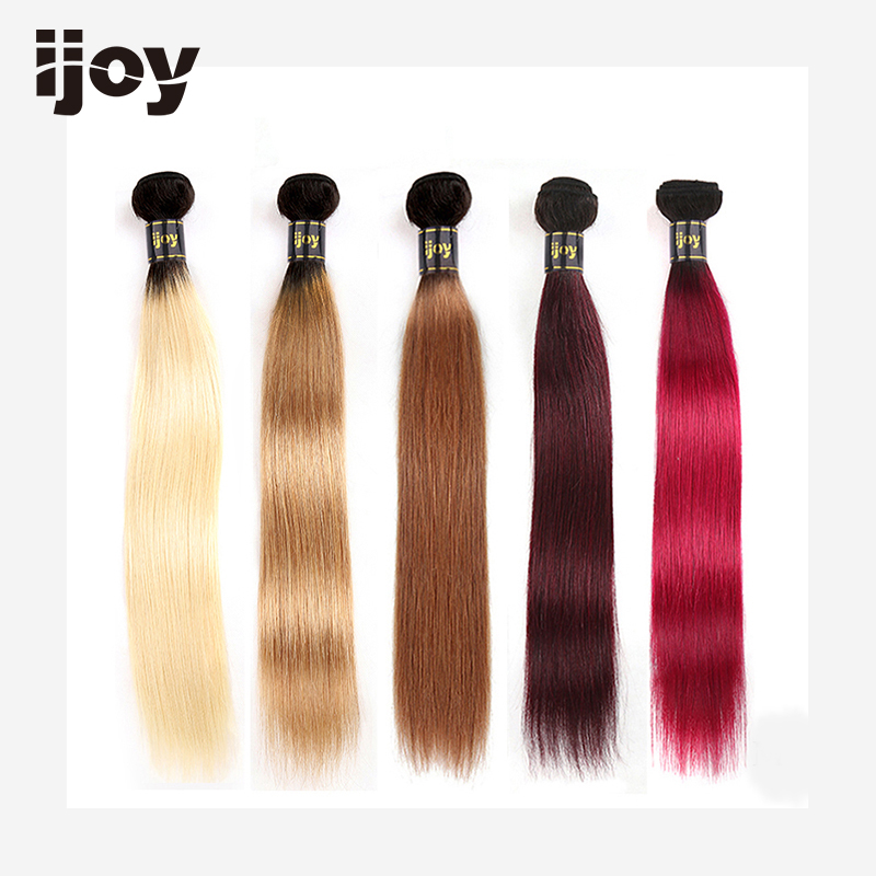 "Ombre Human Hair Bundles #613/27/30/99J/Burgundy 8""-26"" M Brazilian Hair Weave Bundles Non-Remy Straight Hair Extension IJOY"