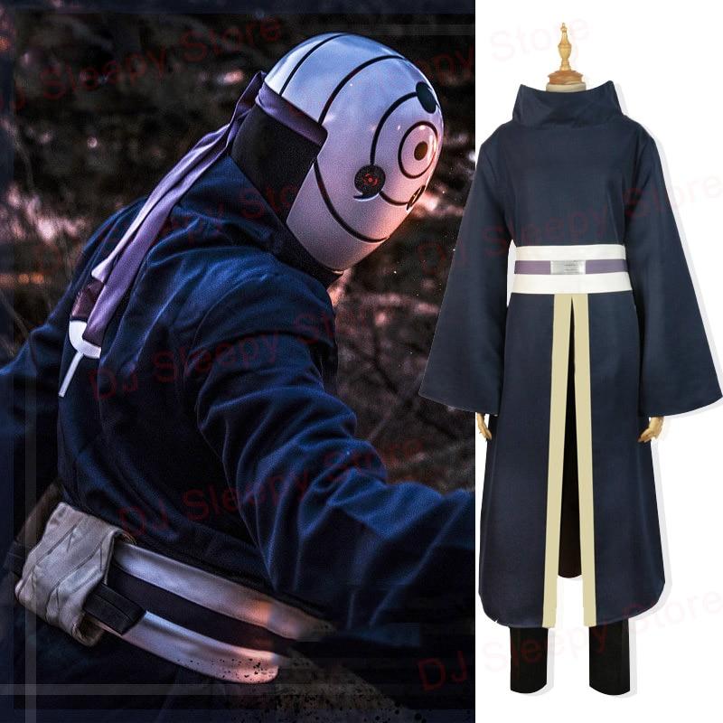 7Pcs Set Naruto Cosplay Costumes Uchiha Obito Cosplay Long Sleeves Black Cloak Mask Accessories Anime Cosplay Set Halloween Cos