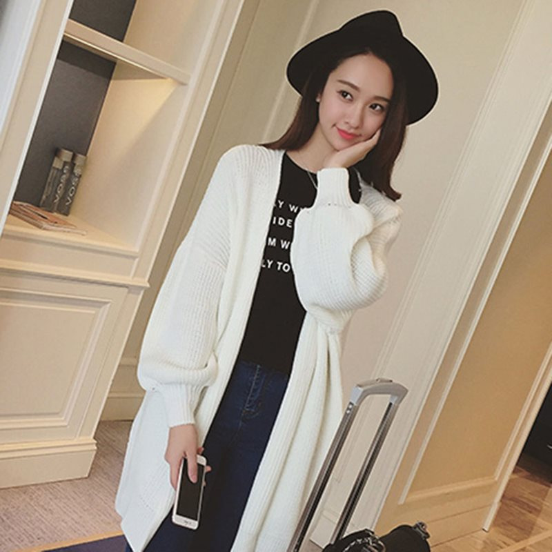 Korean plus size sweater women casual pink knit cardigan knitwear white autumn winter clothes knitted lantern sleeve long coats in Cardigans from Women 39 s Clothing
