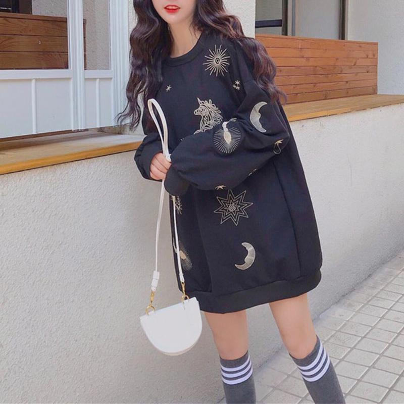 Autumn Casual Women Long Section Long Sleeve Cartoon Embroidery Loose Tops