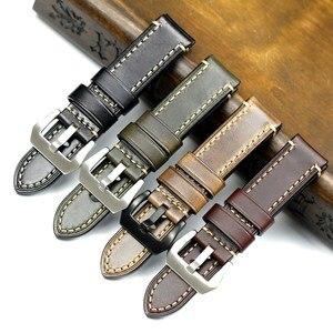 Image 1 - PSTARY Holwin Horween Chromexcel lśniący połysk skórzany pasek 20mm 22mm 24MM męski zegarek wojskowy pasek