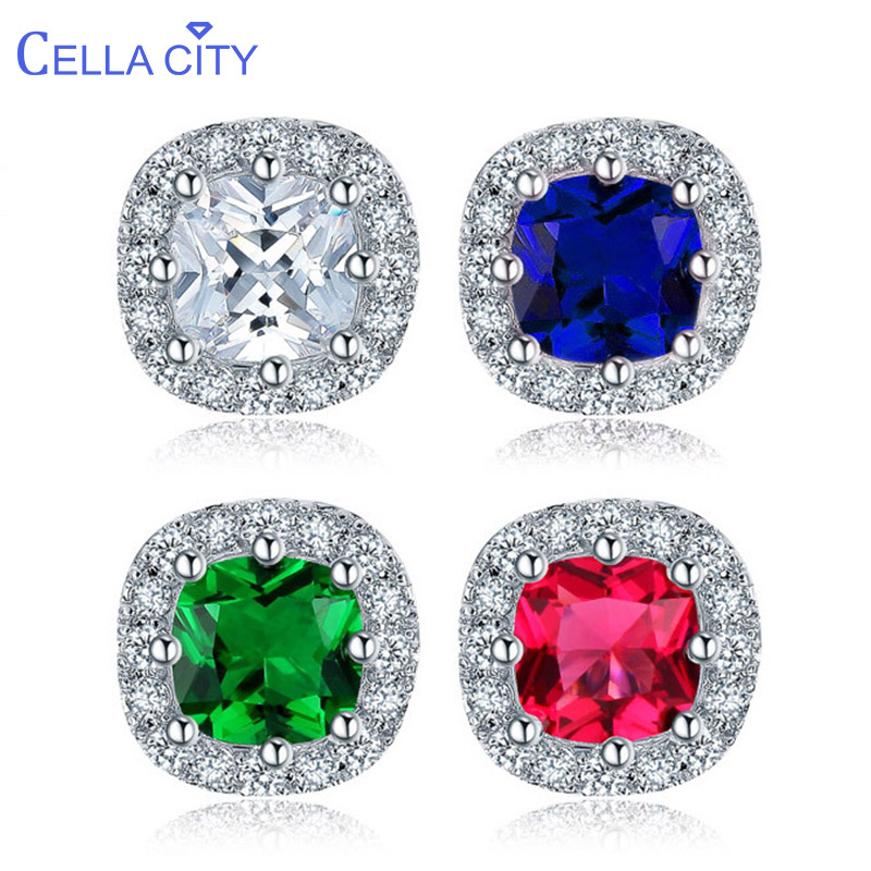 Cellacity Classic Design Silver 925 Earrings For Women Fine Jewelry With Color Gemstones Sapphire Ruby Emerald Zircon Ear Studs