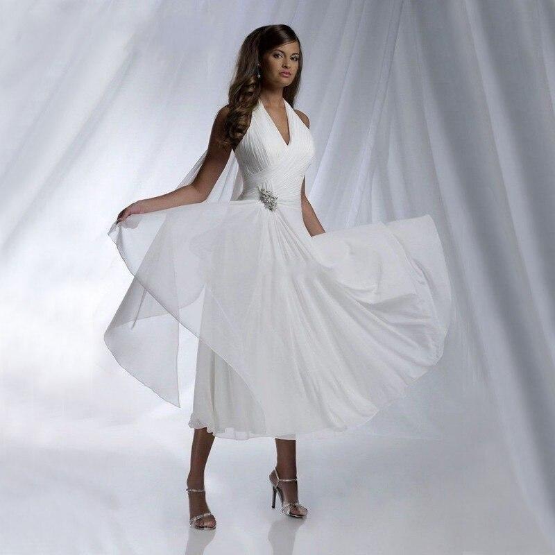 Summer Beach Chiffon Wedding Dresses 2020 Sexy Halter Tea Length Chiffon Pleated Cheap Bridal Gowns Robe De Mariage