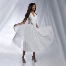 Summer Beach Chiffon Wedding Dresses 2019 Sexy Halter Tea Length Chiffon Pleated Cheap Bridal Gowns robe de mariage