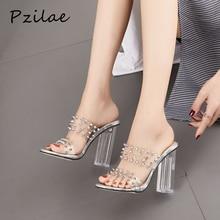 Pzilae/Новинка; женские босоножки из прозрачного ПВХ; модные женские шлепанцы с заклепками на высоком квадратном каблуке; туфли без задника на массивном каблуке; свадебные туфли; размер 42