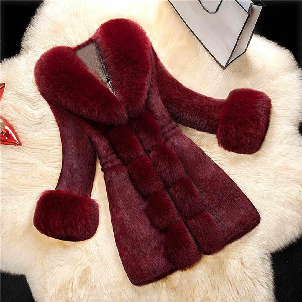ใหม่บาง Faux เสื้อขนสัตว์ผสมผู้หญิง Elegant แฟชั่นหนาหนา Outerwear ยาวขนสัตว์แจ็คเก็ต Slim Outwear Overcoat #924