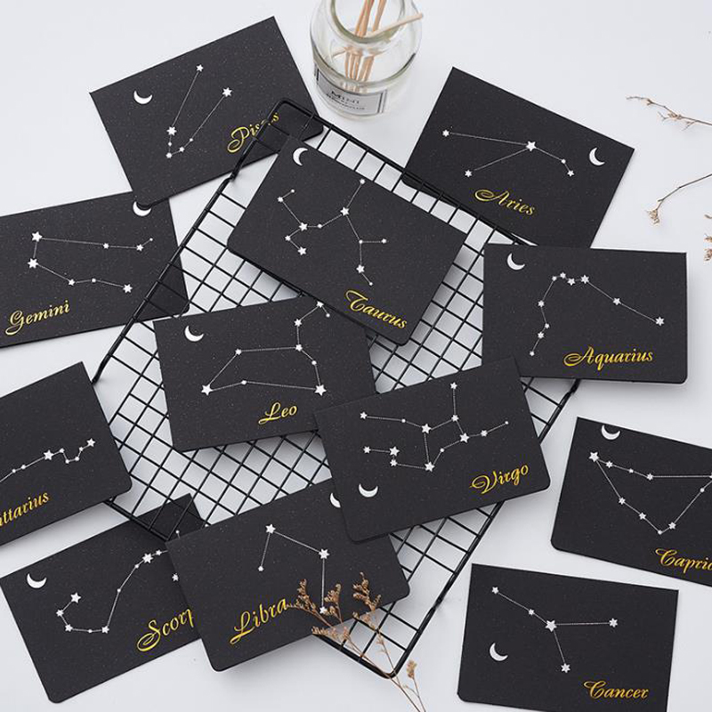 1 Pcs Cute Twelve Constellations Paper Greeting Card+Envelope Set Business Birthday Christmas Gift Message Card Stationery