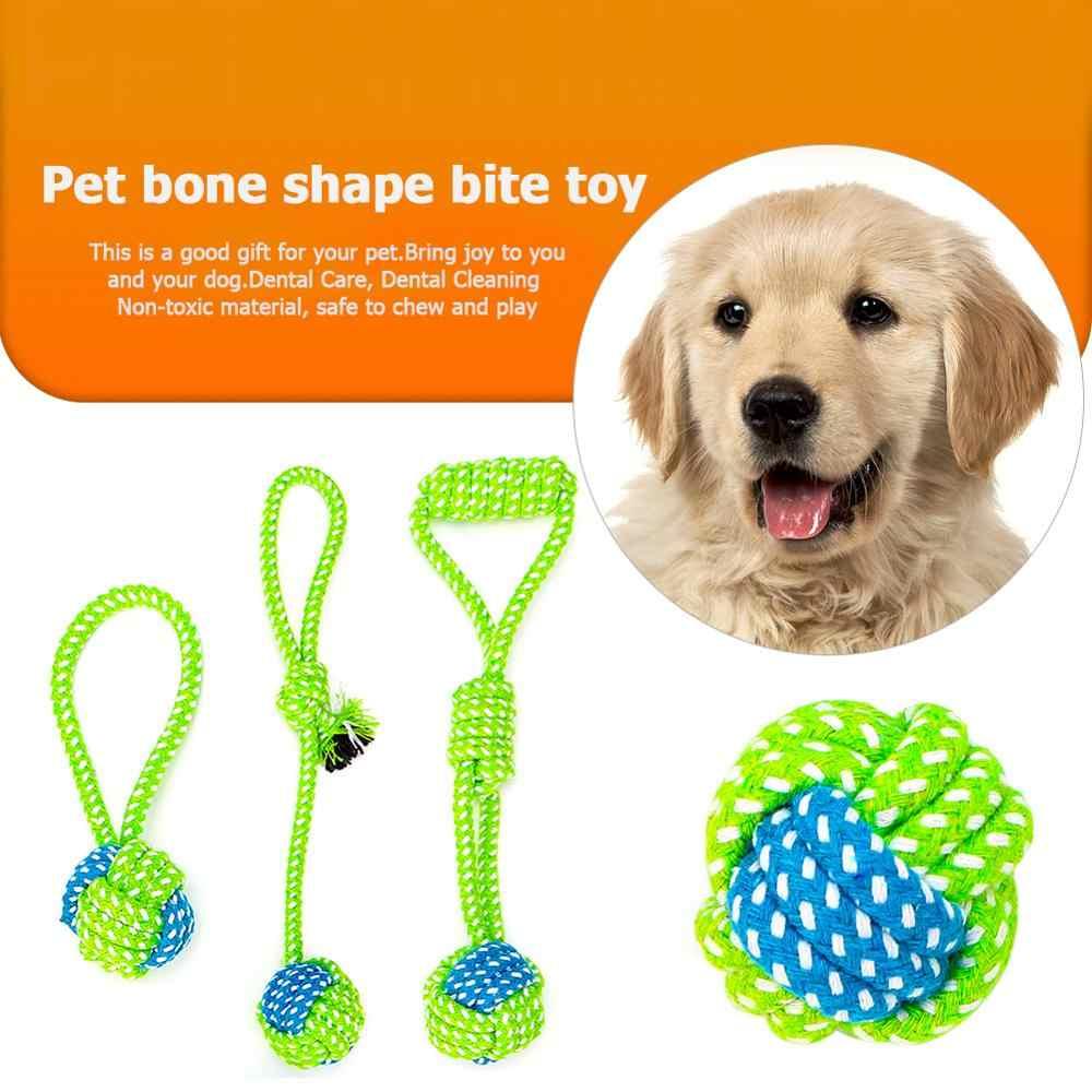Funny Dog สัตว์เลี้ยง Cat ของเล่นทำความสะอาดฟันเล่นบอลแฟชั่นน่ารัก Pastel Knot เชือกฝ้าย Bone Chew Tug กัดของเล่นสำหรับสัตว์เลี้ยง