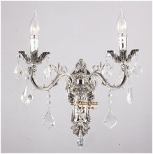 Classic Golden Crystal Wall Light Fixture Silver Modern Sconces Lamp Brackets Free Shipping