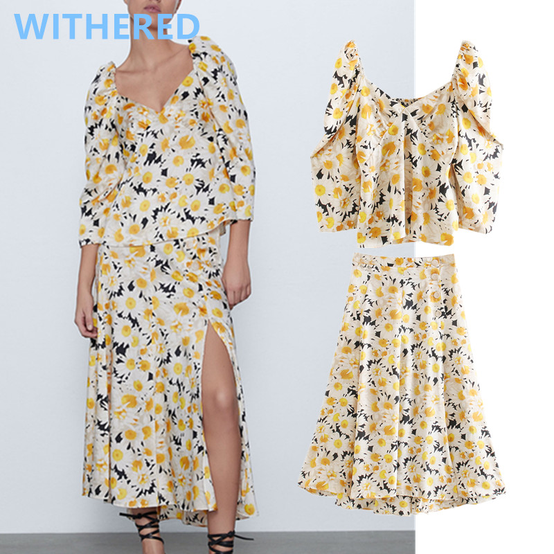 Withered Indie Folk Vintage Floral Printing Square Collar Blouse Women Blusas Forking Midi Long Skirt Women Faldas 2 Pieces Set
