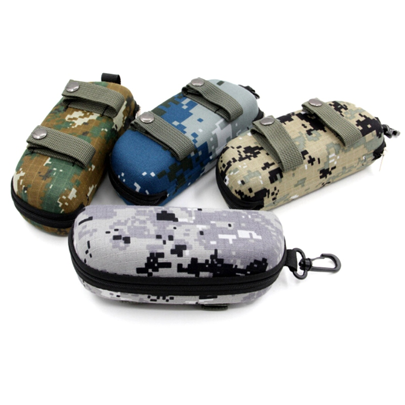 Tactical EVA Portable Sunglasses Box Camouflage Molle Zippered Goggle Box Glasses Bag Case Outdoor Accessory Bags Emergency Kits