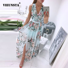 Summer Deep V-Neck Sleeveless Beach Dress Elegant Women Chiffon Split Maxi Party Dress Vintage Floral Print Long Dresses Vestido