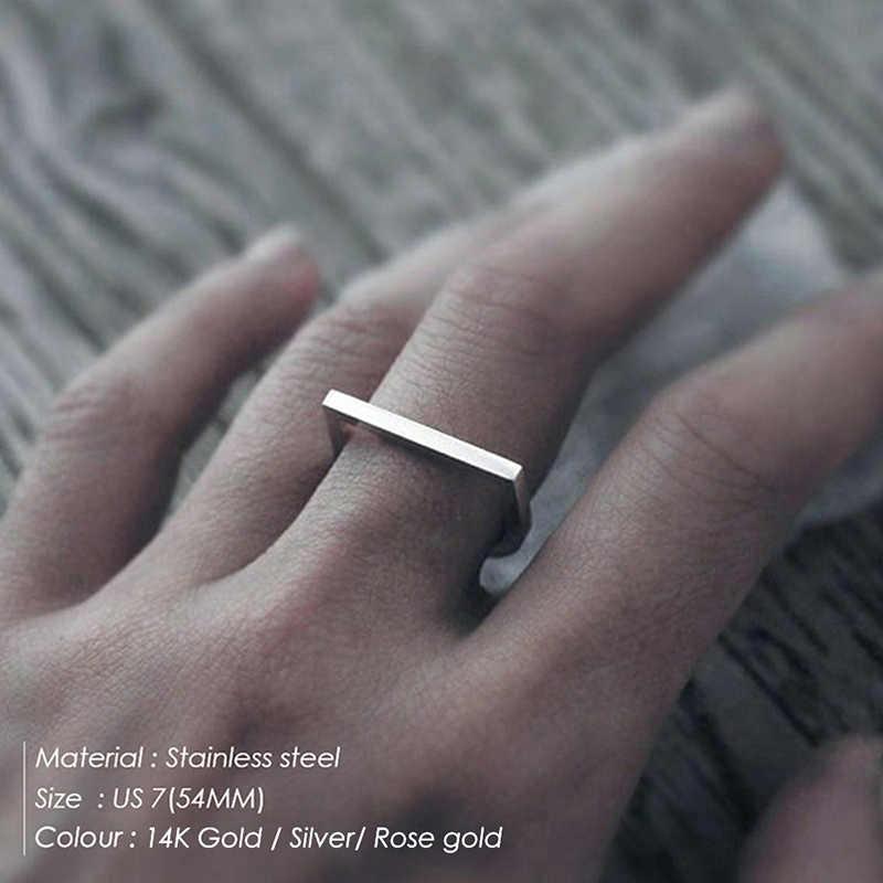 แหวนแฟชั่น Punk สแตนเลสยอดนิยมแหวนเลดี้ Retro เรขาคณิตสีชมพูแบนแหวนคอมโพสิตรอบเครื่องประดับ