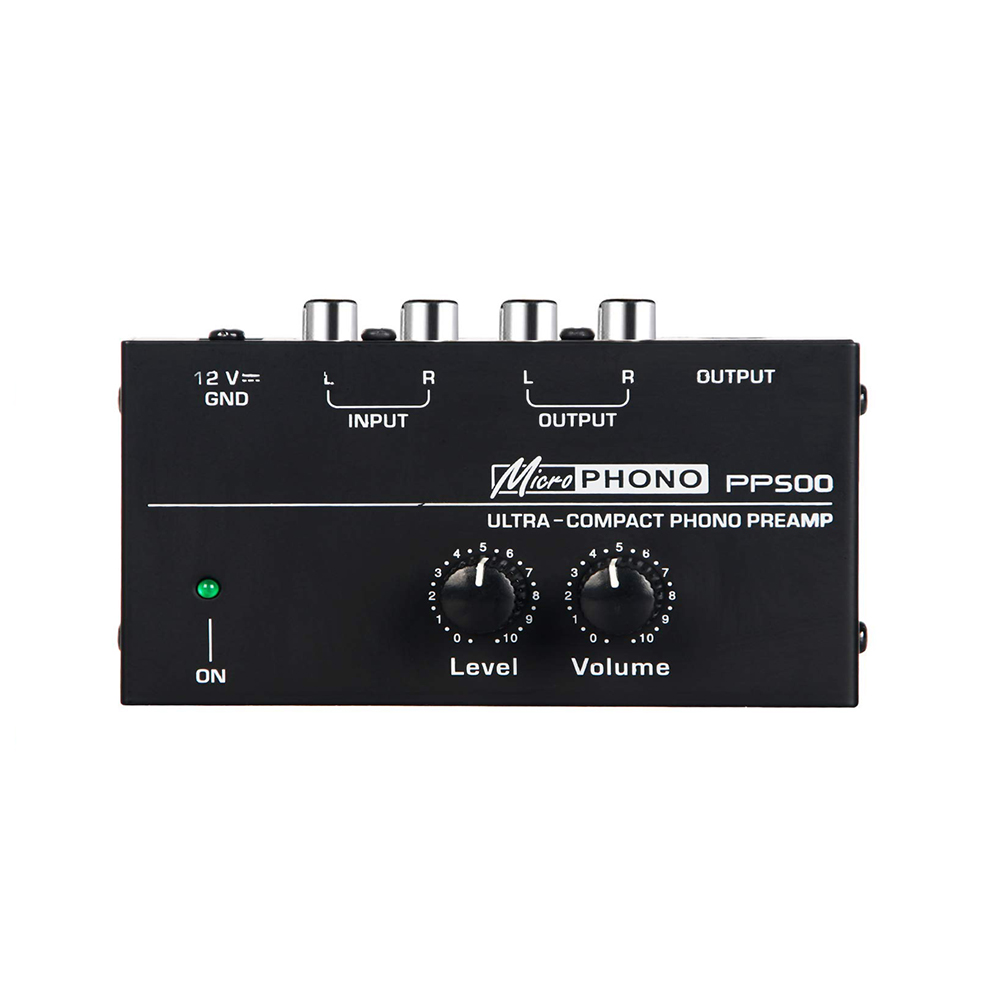 PP500 Ultra-compact Phono Preamp Preamplifier With Level & Volume Controls RCA Input & Output 1/4