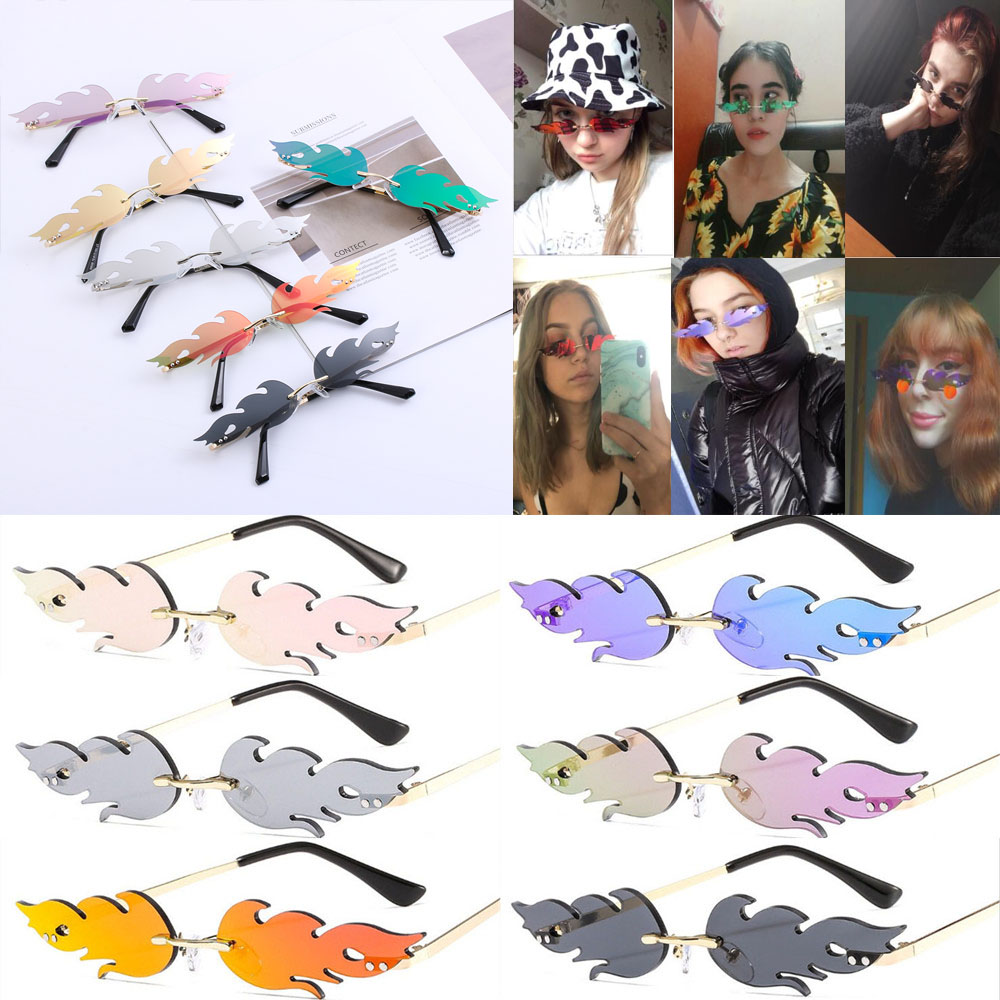gafas ciclismo Fashion Fire Flame Sunglasses Women Men Rimless Wave Sun Glasses UV 400 Eyewear Luxury Ó<font><b>culos</b></font> de ciclismo image