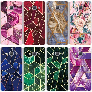 Geometric Marble Soft Phone Case for Samsung Galaxy E5 E5000 SM-E500F E500 E500H E500F Glossy Flower Silicone Phone Back Cover image