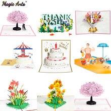 Tarjetas Pop-Up 3D de flores, tarjetas de cumpleaños, regalos de aniversario, Postales de árbol de cerezo de Arce, tarjetas de invitación y felicitación de boda