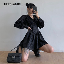 HEYounGIRL V Neck Jacquard Harajuku Punk Pleated Dress Autumn Long Sleeve Short Dress Women Casual Preppy Style Gothic Dresses