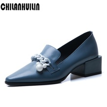 genuine leather pumps brand high heels fashion style pumps women pointed toe chunky heels elegant ladies party dress office shoe women pumps block heels 5cm pointed toe classic ladies chunky heels fashion female office shoes women