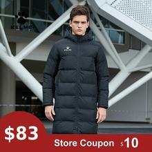 KELME мужская зимняя куртка, длинное однотонное Спортивное тренировочное пальто, мужское пальто, теплое зимнее пальто с хлопковой подкладкой для мужчин и женщин 3881406