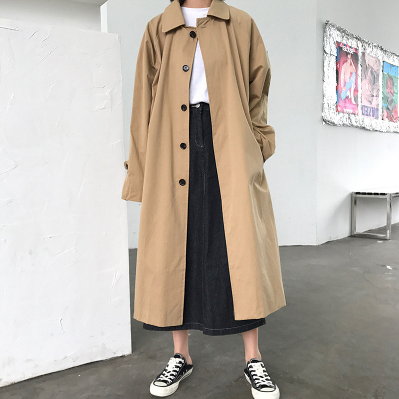 Alien Kitty 2019 New Elegant Women Fashion Long Trench Coat Female Solid Khaki Cardigan Straight Windbreaker Manteau Femme Hiver