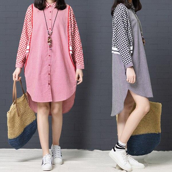 Photo Shoot 2018 Large Size Dress Shirt Dress Mid-length Cotton Front Short Long Back Plaid Long-sleeved Dress