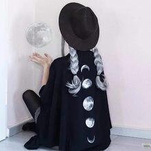 Halloween Cloak Gothic Black Ponchos Moon Printed Capes Women Capes Autumn Winter Loose Bat Tassel Capas y ponchos de invierno
