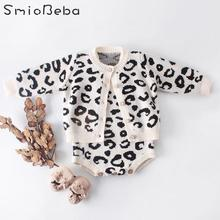 Комбинезоны, Одежда для новорожденных, комбинезоны для девочек, пальто с леопардовым принтом, вязаный теплый комплект из двух предметов, комбинезоны для новорожденных девочек