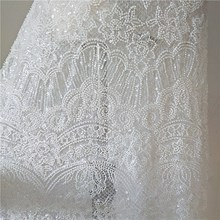 Export heavy industry Europe and  United States nail beads sequin embroidery white lace dress wedding dress evening dress fabric