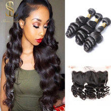 Shinelady Brazilian Loose Wave Bundles With Frontal 100% Remy Human Hair 3 Bundles With 13*4 Frontal With Bundle Hair extension(China)
