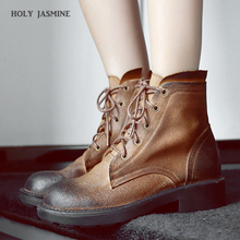 Casual Women Autumn Winter Boots Genuine Leather Ankle Martin Boots Platform Heels Lace-Up Boots Female Snow Shoes Size 34-43