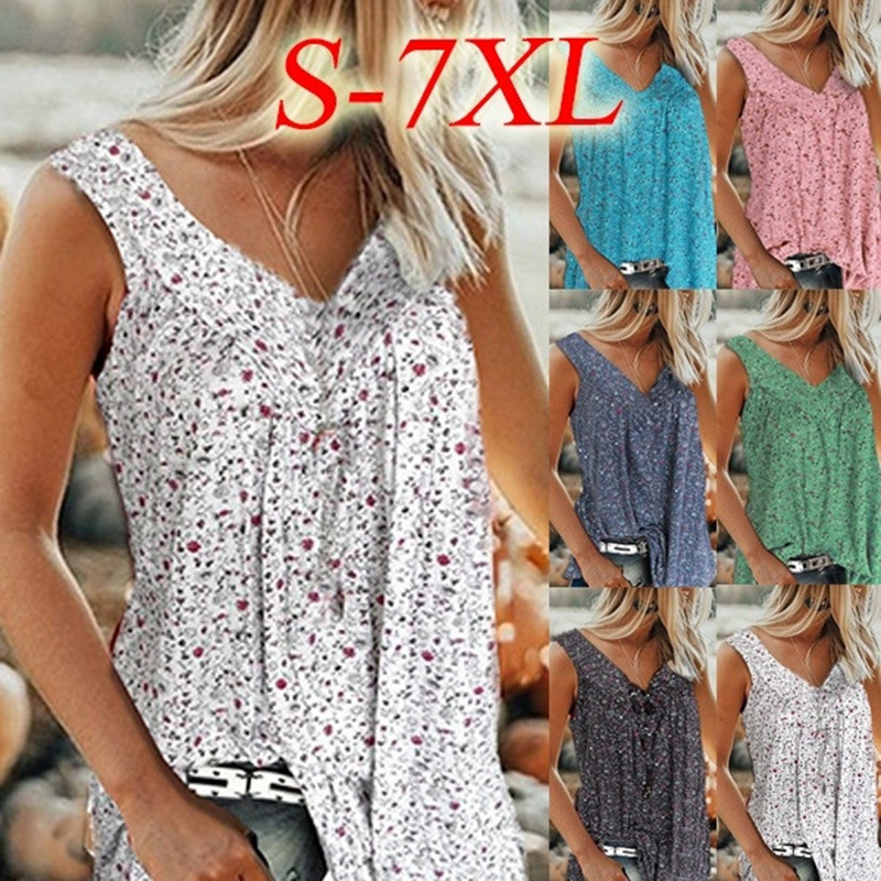 S-7XL Casual Summer Tee Shirts Tanks Women 2020 Sexy V-Neck Boho Floral Print Large Size Beach T Shirt Loose Plus Size Tops 6XL