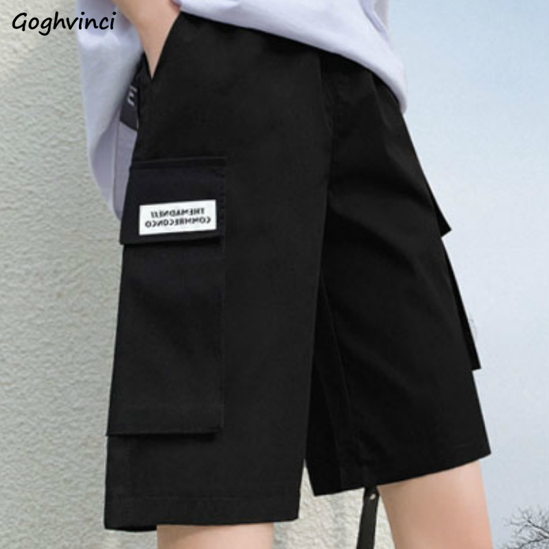 Shorts Women Summer High-waist Knee-length 3XL Pockets BF Casual Straight Vintage Chic Solid Loose Womens Streetwear Ins Ulzzang