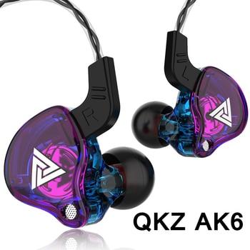 QKZ AK6 3.5mm Wired Headphones Copper Driver Stereo HiFi Earphone Bass Earbuds Music Running Sport Headsets Games Earphones 1