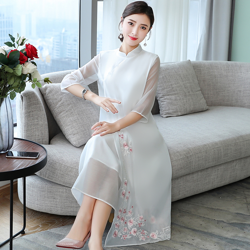 2019 Cheongsam Ao Dai Vietnam Ao Dai Dress Vietnam Clothing Qipao Vintage Casual Retro Dresses Chiffon Vietnamese Chinoise Aodai