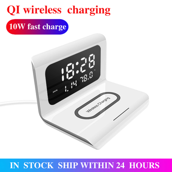 10W Qi Wireless Charger Wireless Charging Pad Thermometer Calendar Clock Fast Charge Cargador Inalambrico For Iphone Samsung