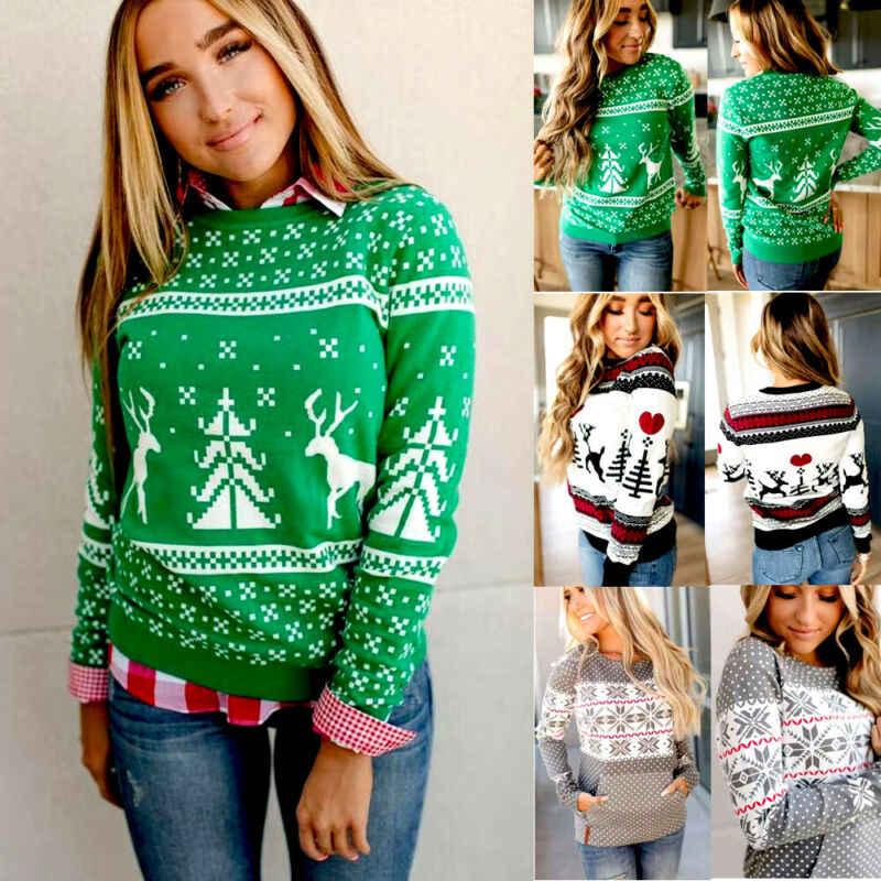 크리스마스 스웨터 여성 2019 가을 겨울 니트 늑골이있는 스웨터 풀오버 크루 넥 슬림 패션 따뜻한 스웨터 당겨 코트