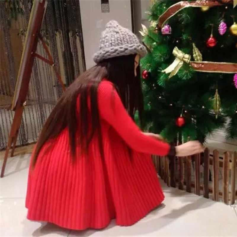 Mulheres Vestido De Camisola de Malha Outono Inverno Coreano O-pescoço A-Line Vestido Plissado Elegante Vestidos Vestidos de Cor Sólida
