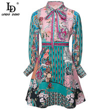 Mini Dress Ld Linda Jacquard DELLA Long-Sleeve Party Vintage Autumn Fashion-Designer