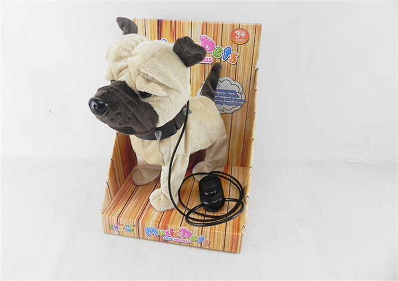 Children Model Matchmaking Shar Pei Electric Plush Toys Puppy Can Sing Walk Dog Doll With Rope Plush Toys