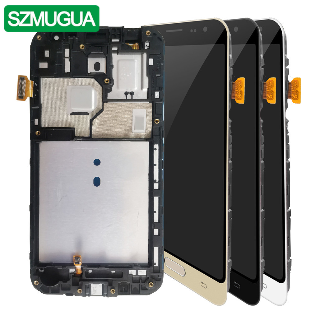 SZMUGUA SM-J320FN/F/M/H/DS لسامسونج غالاكسي J3 2016 J320 شاشة الكريستال السائل + شاشة تعمل باللمس J320F J320FN J320H J320M ضبط السطوع