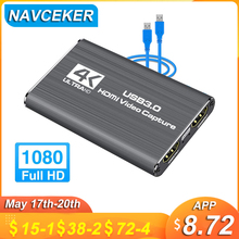 Navceker USB 2.0 HDMI Game Capture Card 1080P 4K placa de video Reliable streaming Adapter For Live Broadcasts Video Recording