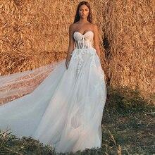 Пляжное свадебное платье для женщин новинка 2021 с милой горловиной