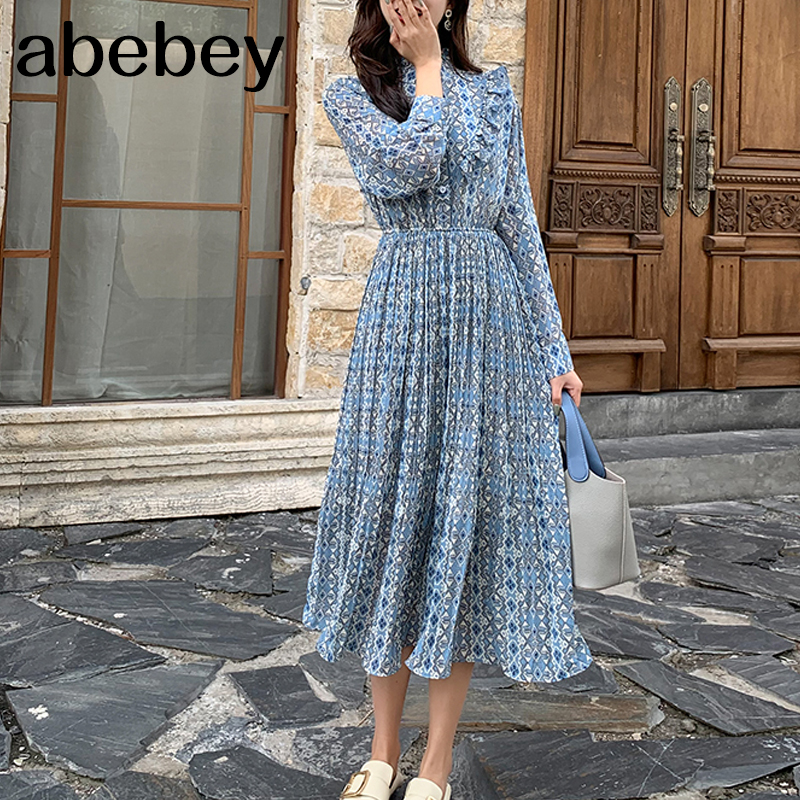Elegant Stand Collar Ruffles Women Dress Long Sleeve Plaid Female Chiffon Pleated Dress 2020 Spring Vestidos Femme